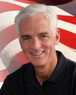 Charlie Crist hiding in front of the American flag